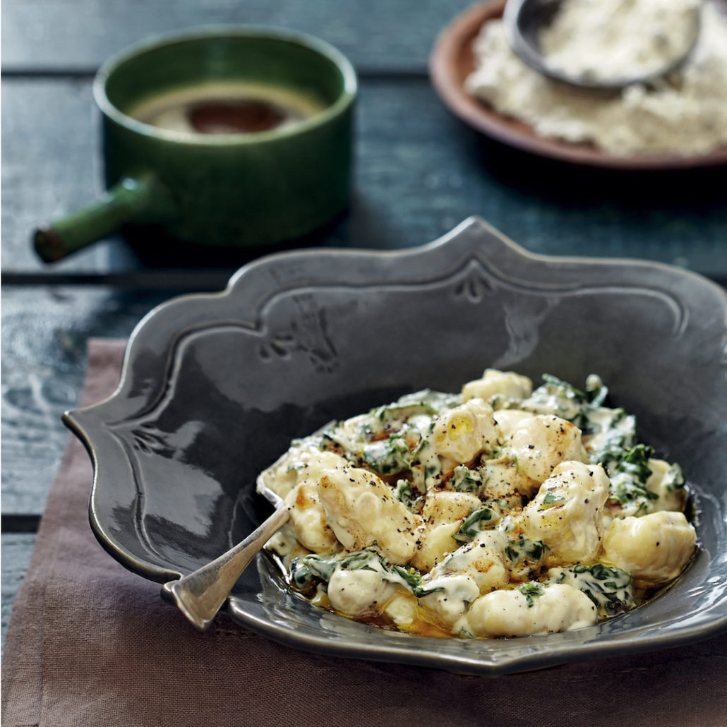 Gnocchi with spinach, cream cheese and brown butter