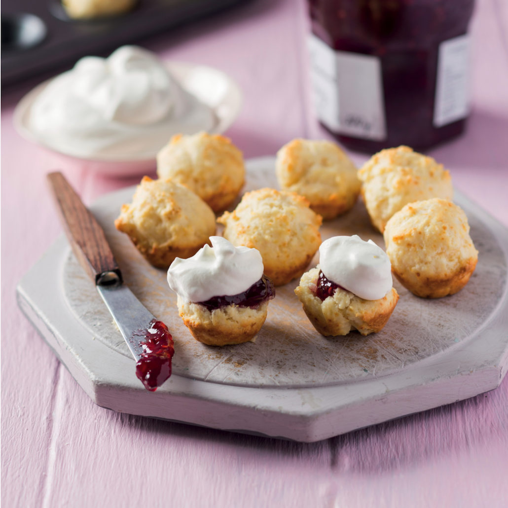 Mini drop scones with jam and cream