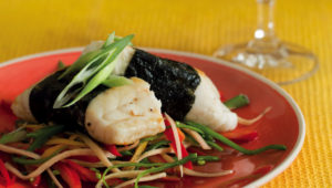 Seaweed wrapped fish with zesty salad