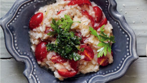 Tomato risotto with gremolata