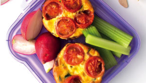 Bacon, spinach and tomato mini frittatas