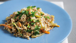 Creamy lemon barley risotto