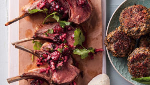 Lamb chops with blackberry salsa & sweet potato quinoa cakes