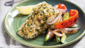 Parsley-crusted dorado with roast veg