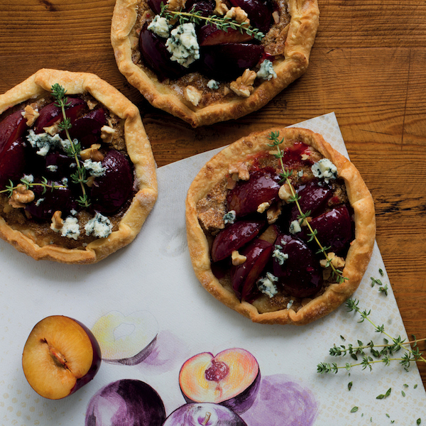 Plum galette with blue cheese, walnuts and thyme