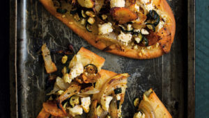 Roast veg and feta flatbread