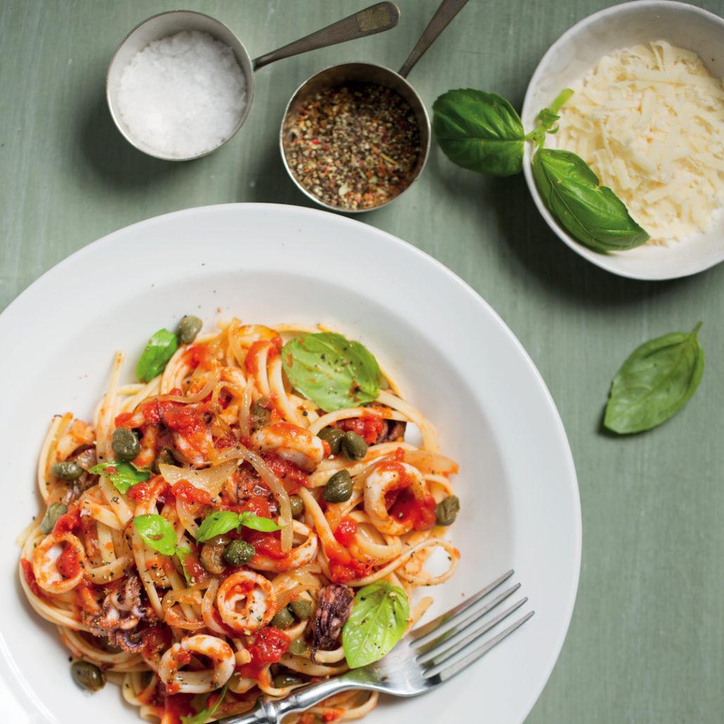 Spicy calamari pasta