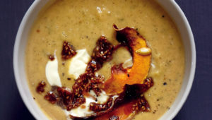 Butternut soup with soy-sesame brittle