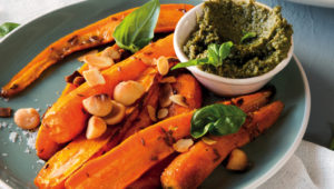 Carrot salad with carrot-top pesto