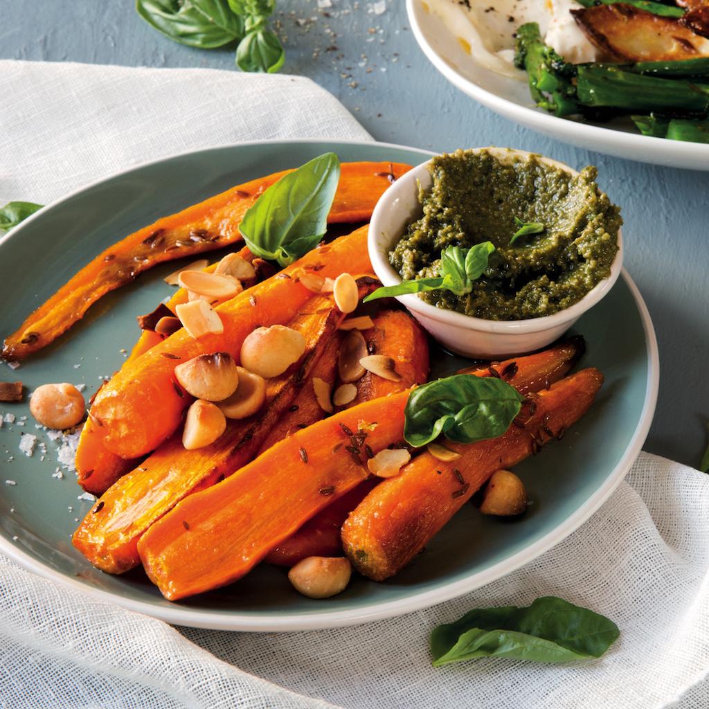 Carrot salad with carrot-top pesto