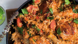 Chicken and chorizo rice pot