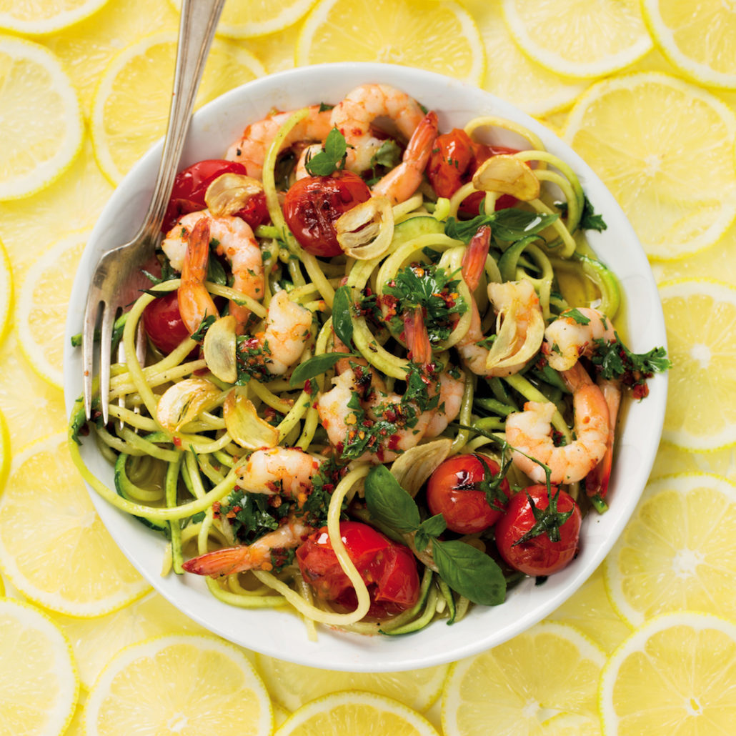 Lemon baby marrow noodles with garlic chilli prawns