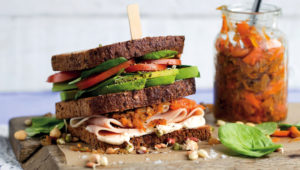 Turkey and spinach club sandwiches with pawpaw achar