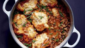 Bean ans barley soup with spiced dumplings