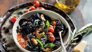 Pasta nero with fresh mussels