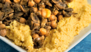 Polenta with chickpea and mushroom ragout