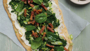 Spinach, cream cheese and bacon flatbread