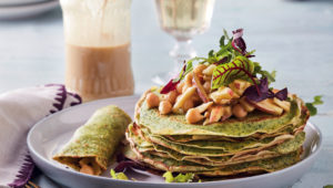 Apple and chickpea spinach crepes