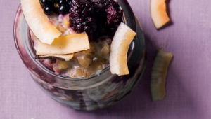 Barley pudding with fruit compote