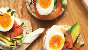 Egg, avo and tomato rice cake stacks