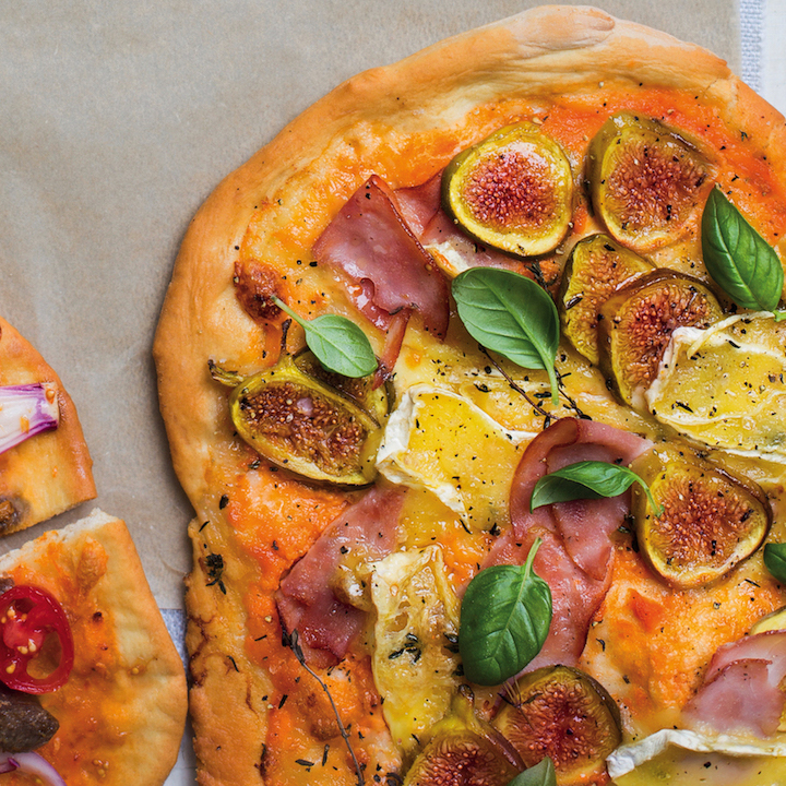 Ham, fig and Brie pizza