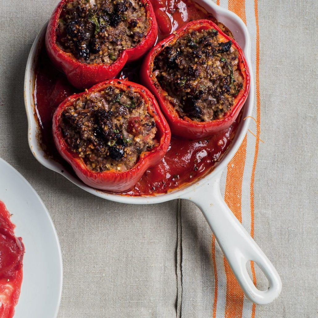 Red peppers stuffed with ostrich mince