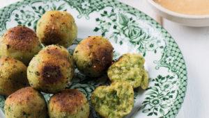 Pea and millet balls with tahini dip
