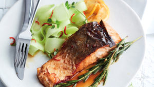 Salmon glazed with lemon-and-rosemary-infused honey