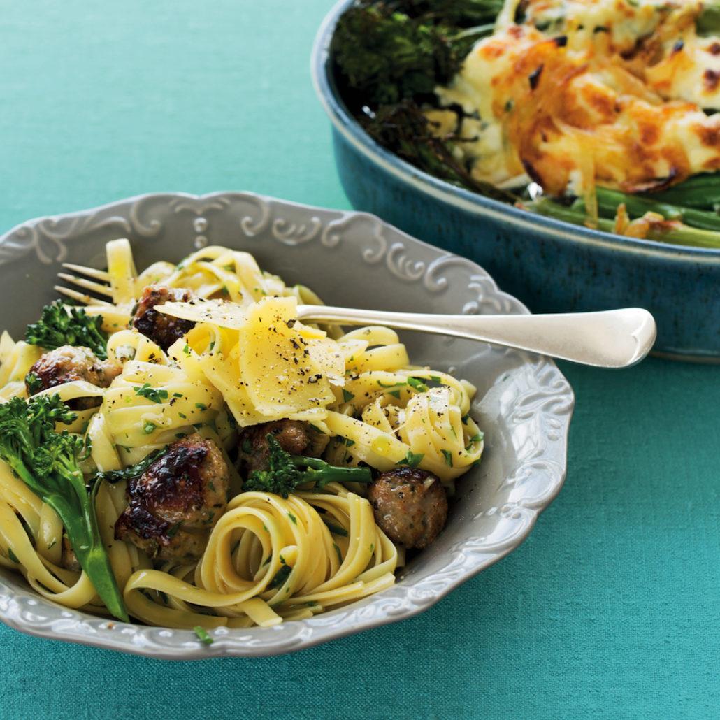 Broccoli and sausage carbonara