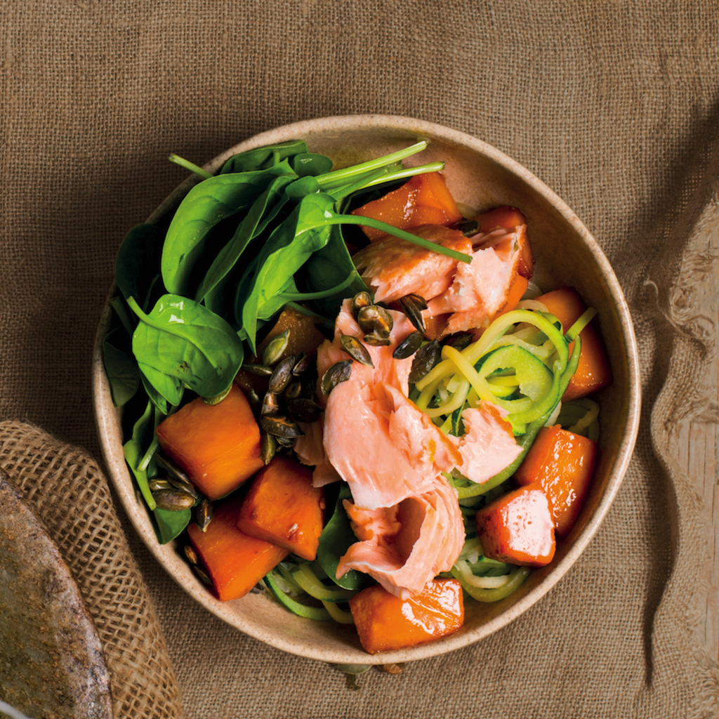 Butternut and salmon zoodles