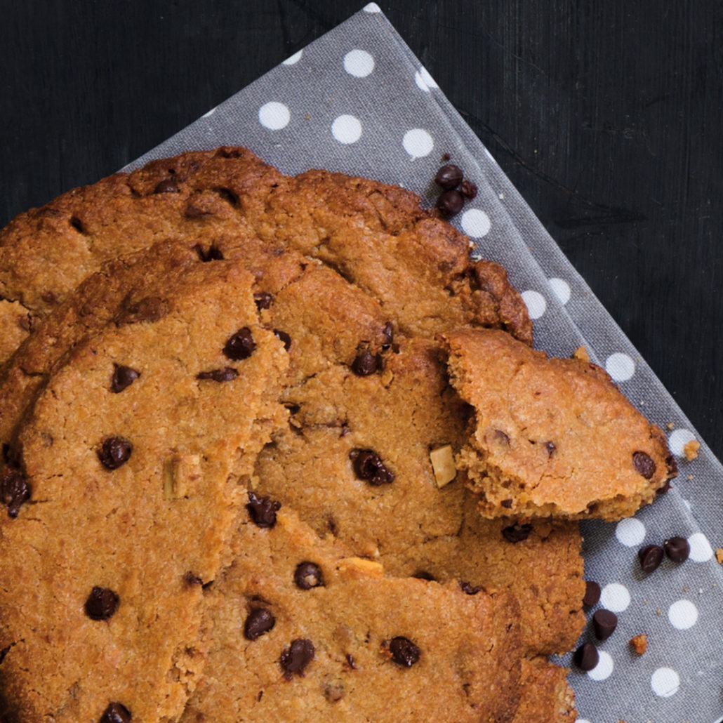 Giant triple chocolate chip cookies