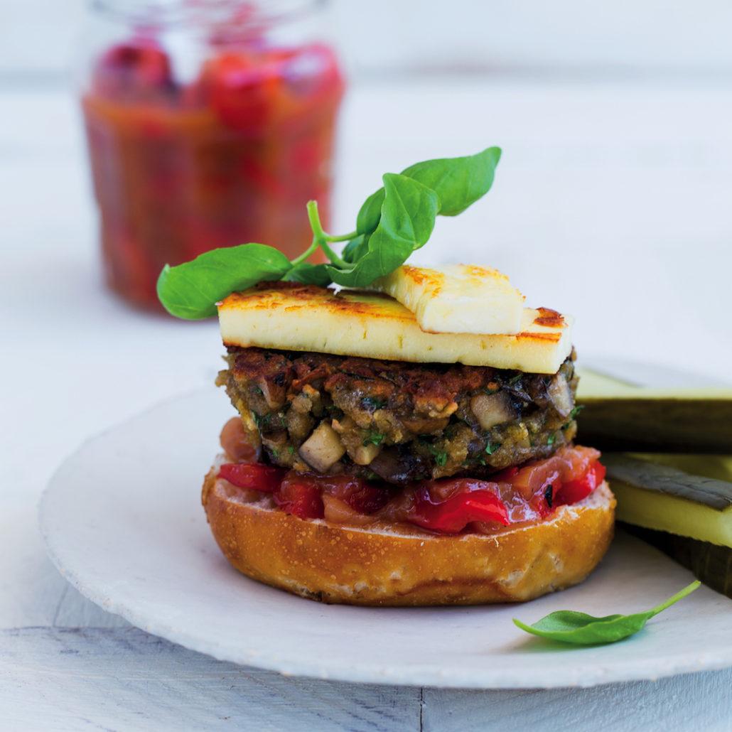 Mushroom burger with red pepper and nectarine chutney