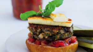 Mushroom burger with red pepper and nectarine chutney
