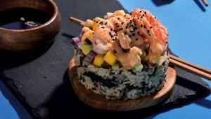 Prawn and mango stacks