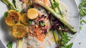 Roast salmon with red wine butter and leeks