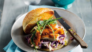 Shredded chicken burgers with slaw