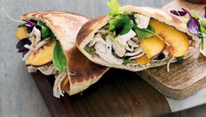 Smoked chicken pitas with feta and peaches
