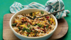Fried rice with leftover meat