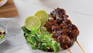 Satay chicken and cauliflower rice protein bowl