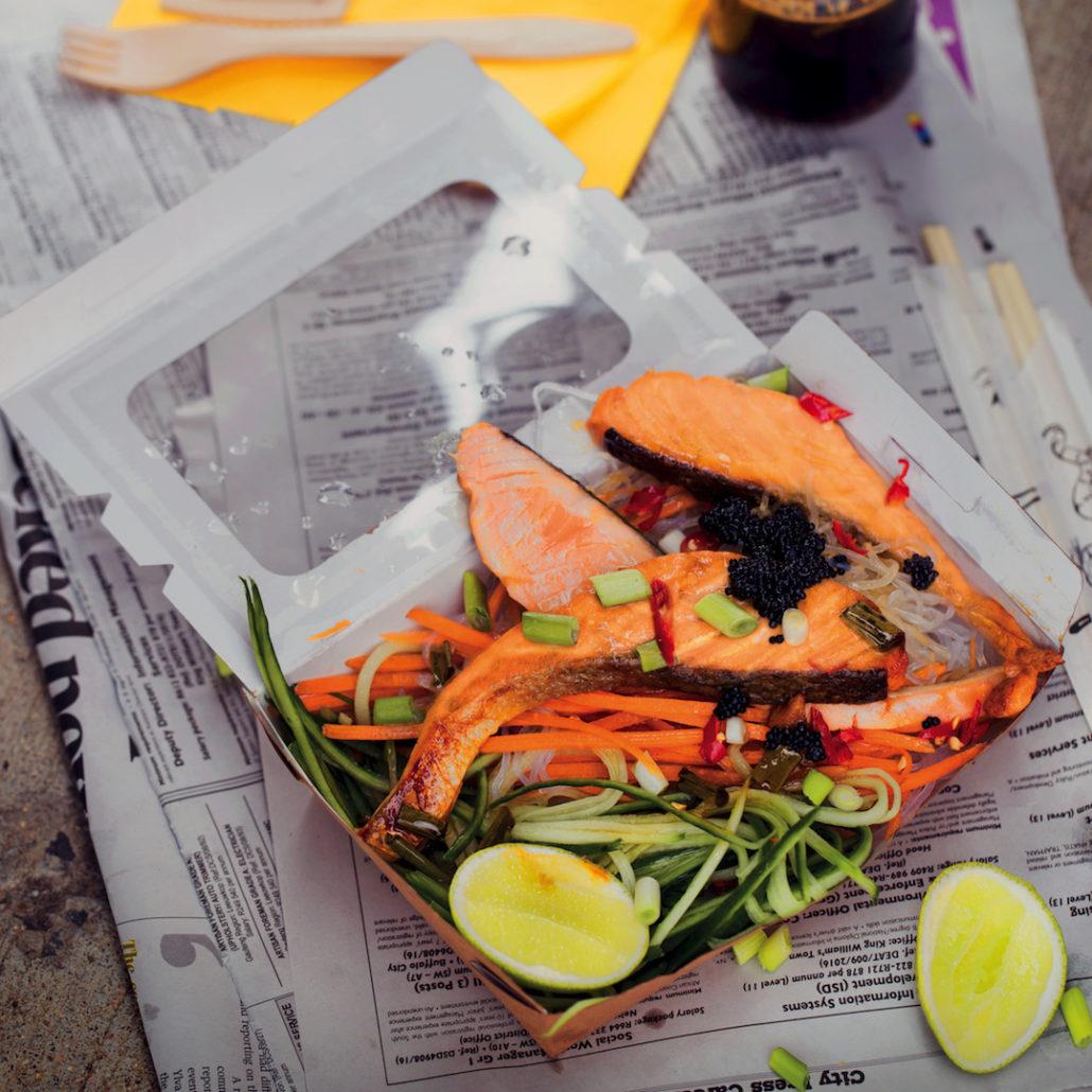 Seared salmon and lime salad