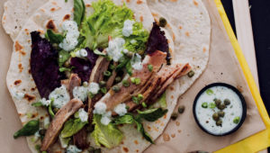 Slow-roasted brisket piadine
