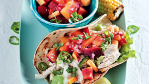 Summer chicken and nectarine tortillas