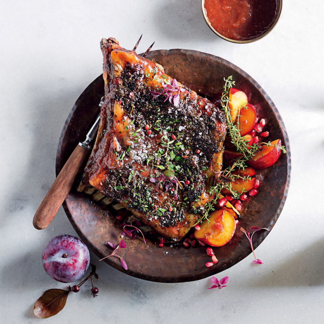 Herbed lamb ribs with spicy plum sauce