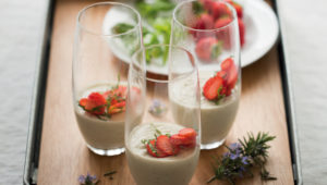 Rosemary-infused yoghurt mousse with strawberries and basil