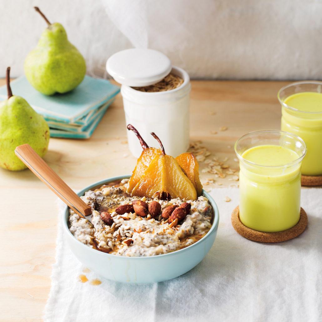 Studded porridge with caramelised pears