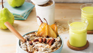 Studded porridge with caramelised pears