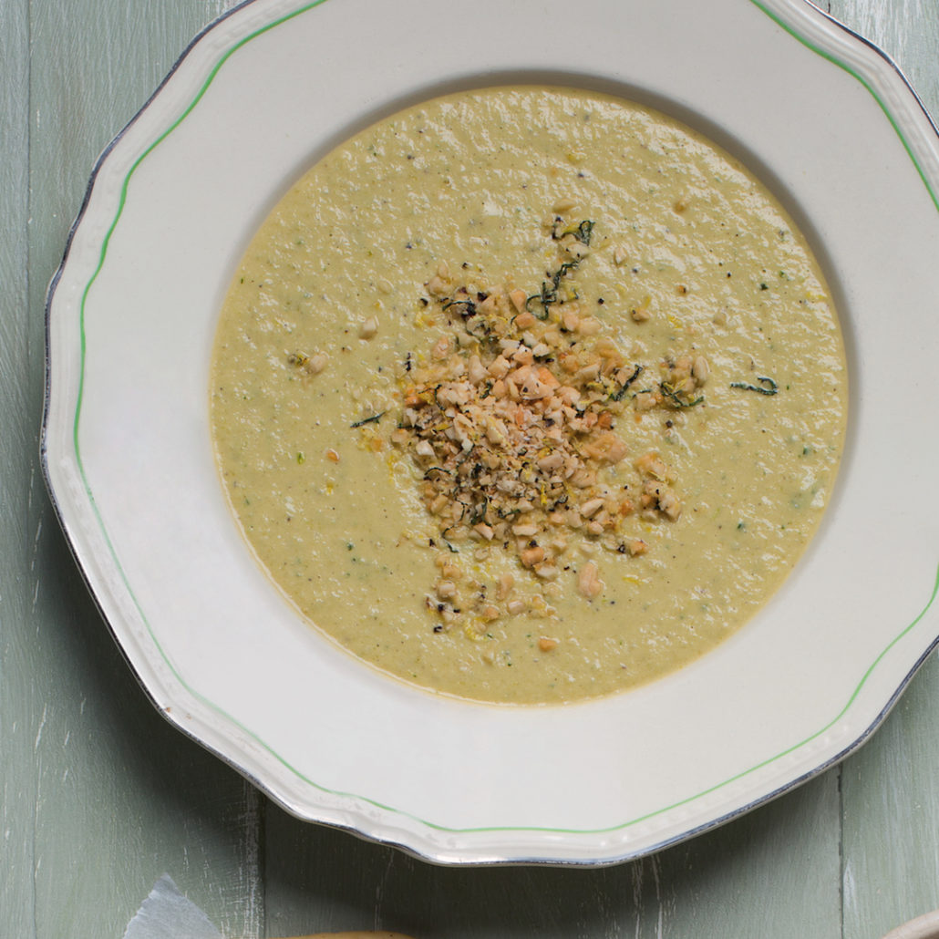 Summer soup with almond crumble