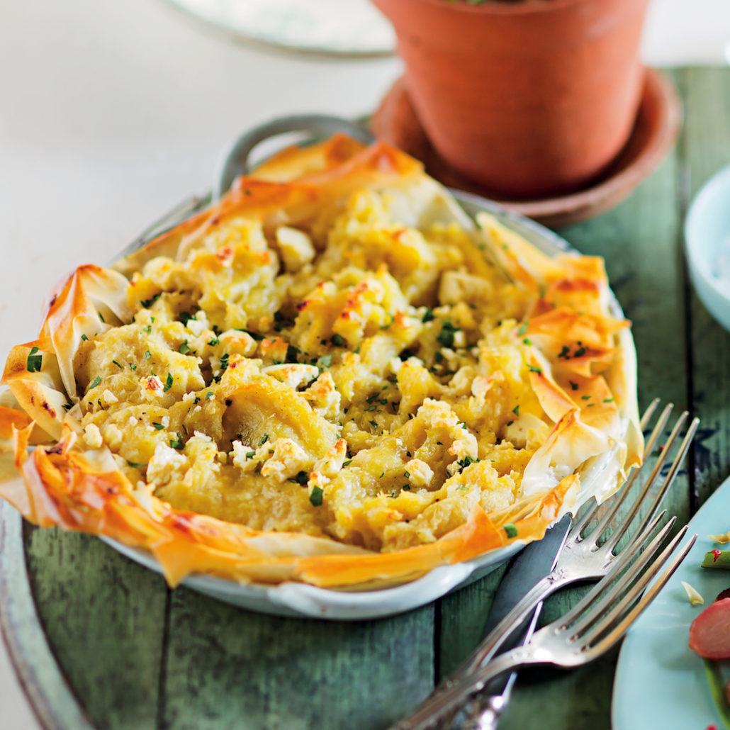 Sweet potato and feta pie