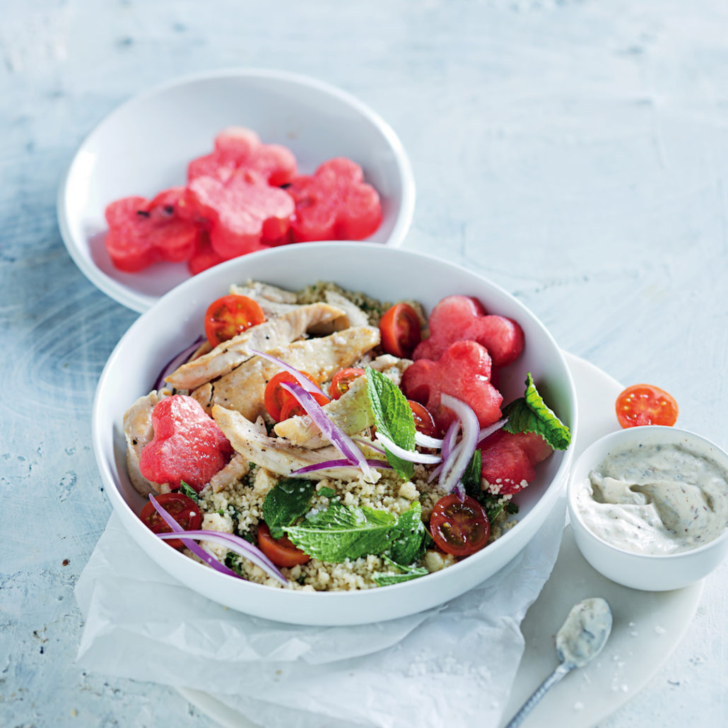 Chicken, couscous and watermelon salad