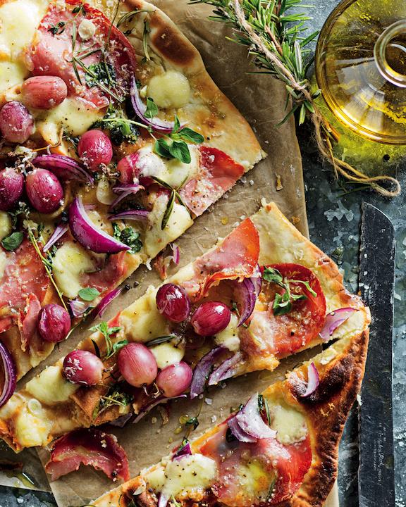 Coppa ham and grape flatbread